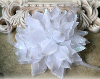 Tresors Large White  Fabric Flowers with Feathers and Glittered Edges approx. 6 inches FL-143