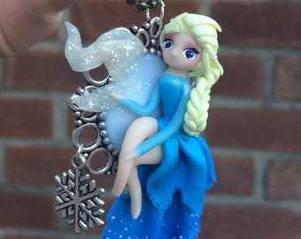 Elsa Snow Princess Necklace. Handmade with Polymer Clay, Frozen Inspired.