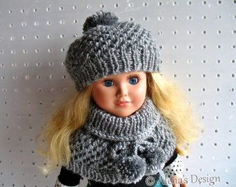 Knitting Pattern 2 PC Set for 18 inch Doll Knitting Patterns Pom-Pom Hat and Collar for American Doll My Life As Christmas Gift for Girl