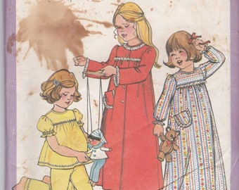 Simplicity 8170 Vintage Girls Sewing Pattern Yoked Puffy Sleeve Robe Pajamas Nightgown PJ's Size 5 - 6