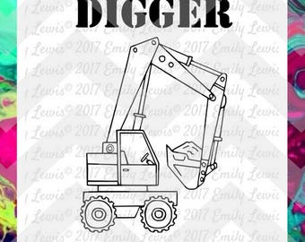 Digger SVG - Truck SVG - truck svg file - die-cuts - boys bedroom decal - toddler boy svg - svgs for cameo - svgs for cricut - construction