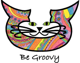 Cat Art Cards- Modern Art- Be Groovy- by beckyzimm
