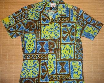 Mens Vintage 60's Royal Green Hawaiian Aloha Shirt - L - The Hana Shirt Co PAJo1M