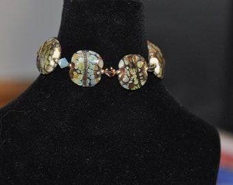 Squeezed Raku Lampwork Bracelet