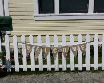 Custom Upcycled WELCOME Burlap Banner (with white painted letters & white felt backing) - Eco-Friendly Home Decor