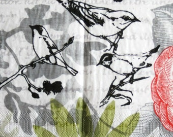 decoupage paper napkins Bird and Roses Decoupage paper Napkin for decoupage