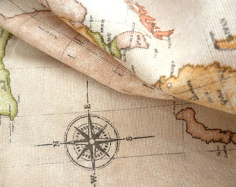 "Design fabric drawing world map / Fabric002158/66547_ world map of 80 x 60 cm / 31,49 "" x 23,62 """