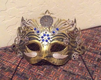 Mask, Masquerade Mask, Steampunk, Halloween Mask, Mardi Gras Mask, Fantasy Mask, Watch Gears, Steampunk Costume, Michanical, Cosplay, Unisex