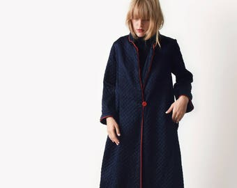 1950s Navy Quilted Robe by Barbizon 50s Vintage Robe Coat XS S M L
