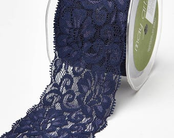 """Elastic Lace Ribbon 2 1/2"""" wide, Navy  TEN YARD ROLL, lingerie, Stretch Lace, Wedding Ribbon, hairbands,"""