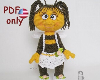 Crochet pattern - Miss Bee amigurumi doll insect animal (English)