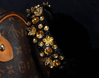 BRENDA Black Yeloow Topaz Fur Ear Muffs, Ear warmer, jeweled earmuffs, rhinestone earmuffs, embellished earmuffs, black earmuffs