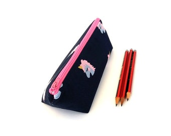 Cute unicorn pencil case bag, School supplies pouch, Unicorn gifts for girls, Large or Small, Pink lining and zipper, Flat bottom