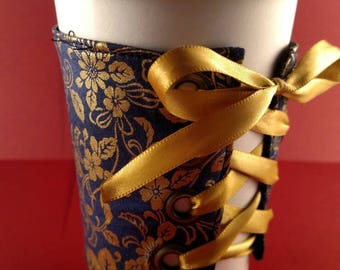 Coffee Corset - Navy and Gold coffee sleeve, coffee cozy