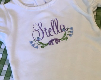Embroidered Floral Onesie Personalized Name Monogrammed Baby