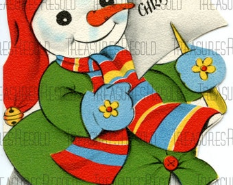 Retro Merry Christmas Snowman Card #229 Digital Download
