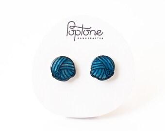 Yarn ball earrings, knitting gift, blue ball of yarn earring studs, gift for knitter