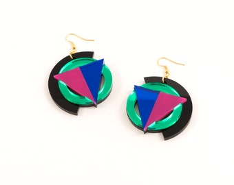 Geometric Perspex Statement Earrings - Green, Pink, Blue FORM_004