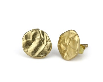 Gold Post Earrings, Round Gold Stud Earrings, Gold Button Earrings, Asymmetrical Earrings Gold, Gold Nugget Earrings,Gold Disc Stud Earrings