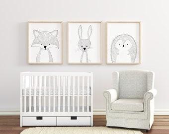 Nursery Animal Print Set, Nursery Animal Art, Nursery Woodland, Nursery Woodland Prints, Nursery Print Set of 3, Nursery Prints, Nursery Art