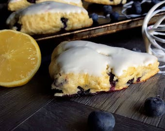 Blueberry Lemon Scones w/ Lemon Cream Icing - Tangy Blue Dozen (12)
