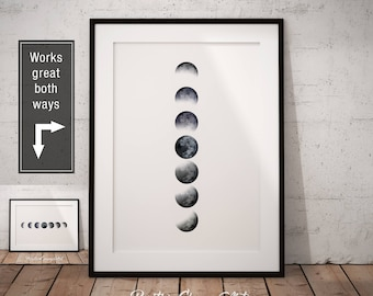 Moon Phase, Moon Phases Print, La Luna Art, Moon Phase Wall Art, Phases of the Moon Poster, Lunar Phase Print, Moon Cycle Printable, La Lune