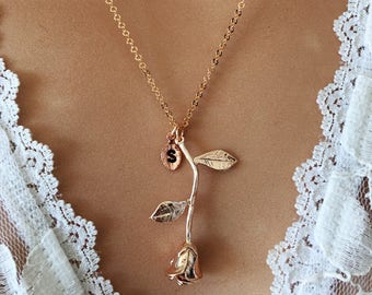 Gorgeous, Rose gold, Rose, Necklace, Flower, Necklace, Lovers, Friendship, Best friends, Birthday, Valentine, Gift, Jewelry