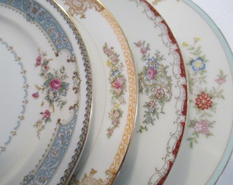 Vintage Mismatched China Salad Plates for Tea Party, Bridal Luncheon, Shower, Wedding, Farmhouse, Shabby, Cottage Chic, Rustic - Set of 4