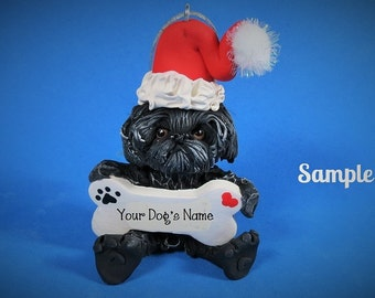 Black Shih Tzu Santa Dog with Bone Christmas Holidays  Ornament Sally's Bits of Clay PERSONALIZED FREE with dog's name