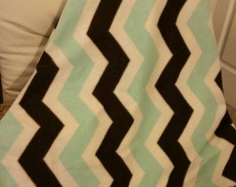 Teal, brown and white Chevron Fleece Blanket