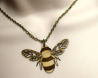 Laser cut Birch wood 'BEE' necklace