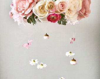 Flower Mobile, Nursery Mobile, Baby Girl Mobile, Floral Mobile, Nursery decor