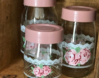 Vintage Shabby Chic Carlton Glass Jars with Rose & Lace Pattern (set of 3)