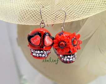 Skull new collection day of dead skulls red earrings stone