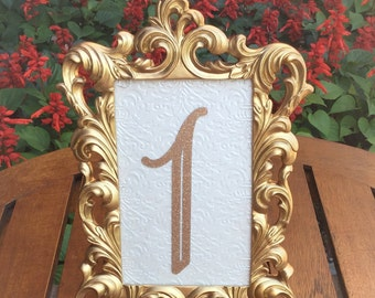 Table number frames 4 x 6 gold wedding frames ornate baroque style