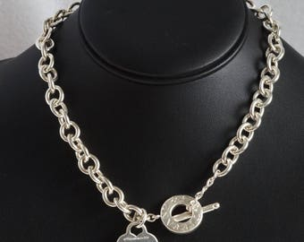 """Tiffany and Co Toggle Heart 16"""" Chain Choker Necklace 925 Sterling Silver (09896)"""