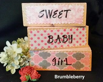 "Nursery Decor Baby Shower Decor ""Sweet Baby Girl"" Wooden blocks Little girls room Gray, Pink & White theme, New baby, Gift for her, Handmade"