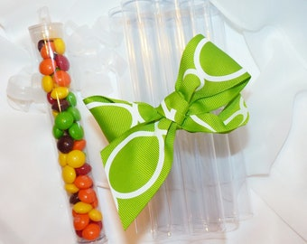 Favor Tubes CLEAR Plastic TUBES -Candy CLEAR Plastic  (set of 10) - Ready To Fill with Candy , Novelty Toys, Secret Message, Party , Favors
