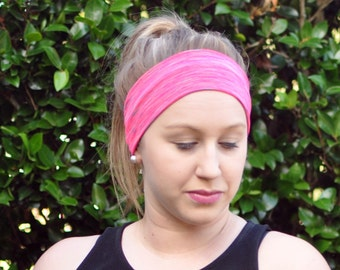 Pink yoga headband, crossfit headband, running headband, sweatband, workout accessories, yoga gift, gift for women, gym gift, spacedyed pink