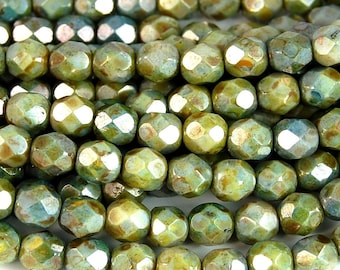 Opaque Green Luster Czech Glass Firepolished 6mm Beads -25