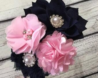 Navy and pink hard Headband Vintage Baby Headband Flowers Baby Headband Couture Headband Flower Girl Headband