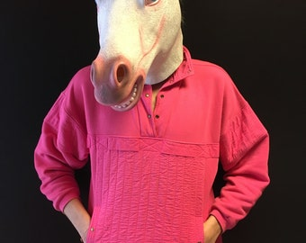 vintage 80s / 90s pink sweater with front kangaroo pocket size M