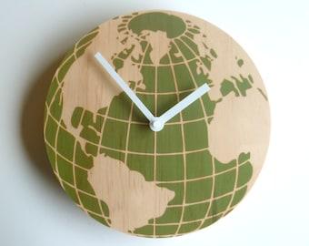Globe with clock etsy objectify globe wall clock medium size gumiabroncs Gallery