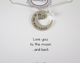 Love you to the moon & back Charm Set Necklace - Sterling Silver; Hand-Stamped