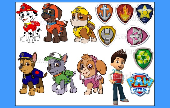 paw patrol characters individuals custom edible cake topper. Black Bedroom Furniture Sets. Home Design Ideas