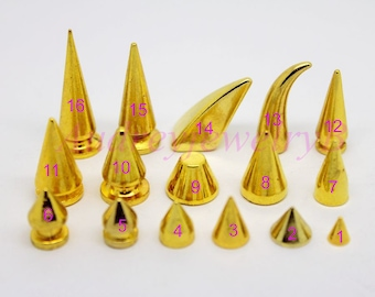 10-50 Sets 4.5-29mm Gold Punk Rock DIY Cone Bullet Metal Spikes Studs  Screw back For Leather crafts Shoes Bag Belt Leathercraft accessories