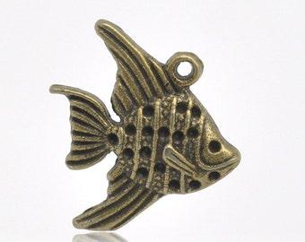 Goldfish Charm, Pendant, Antique Bronze Finish (CH-AB-3), 10 count