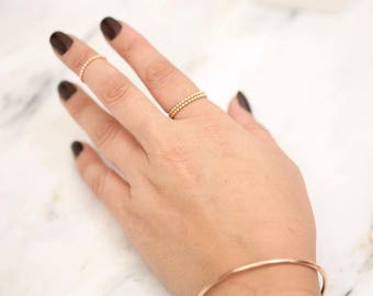 Beaded Ring • Beaded Stacking Ring • Silver Stacking Ring • Stacking Gold Ring • Thin Delicate Ring • Stacking Ring • Gold Stacking Ring