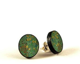 Floral - Gustav Klimt - handmade stud earrings - decoupage