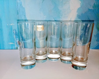 Shot glasses-vintage shot glasses-Set of five shot glasses-Liquor shot glasses-Mint julep tall shotglasses-vintage barware-Luminarc brand